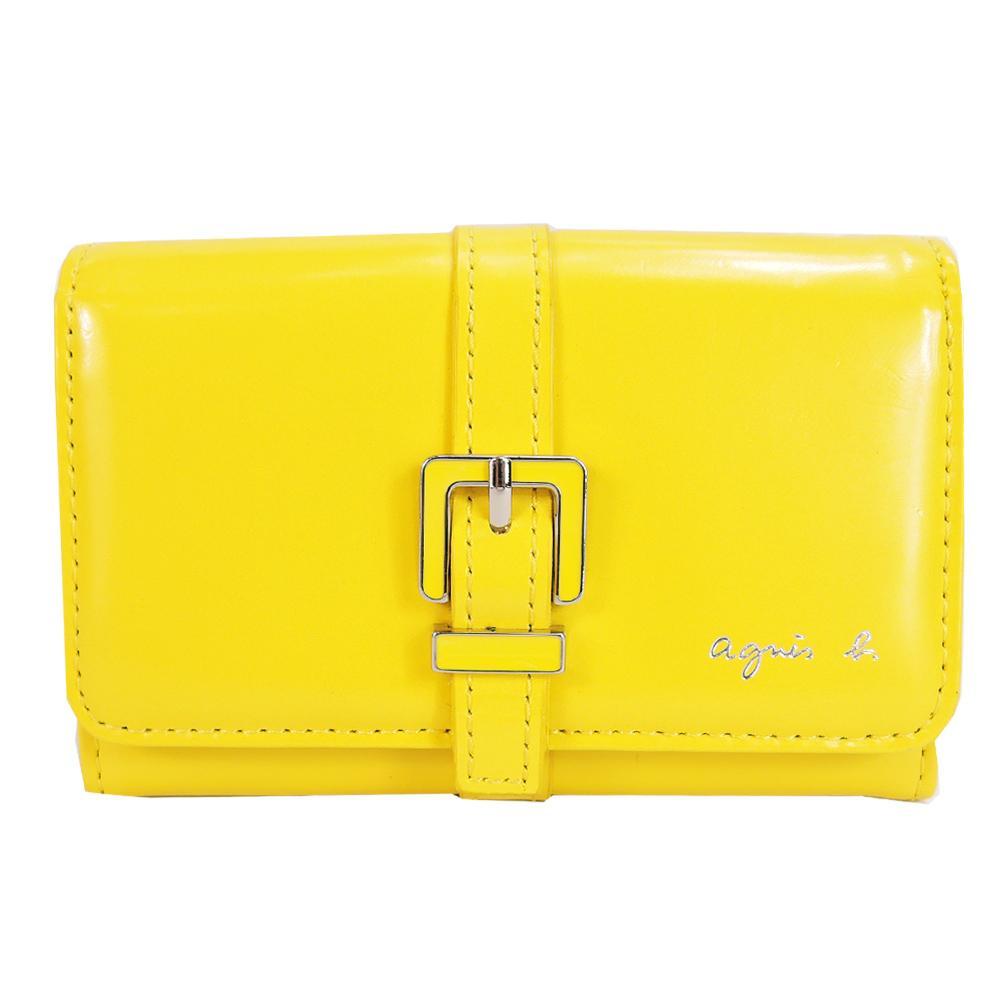 agnes b. 燙銀字皮帶扣飾零錢夾-黃