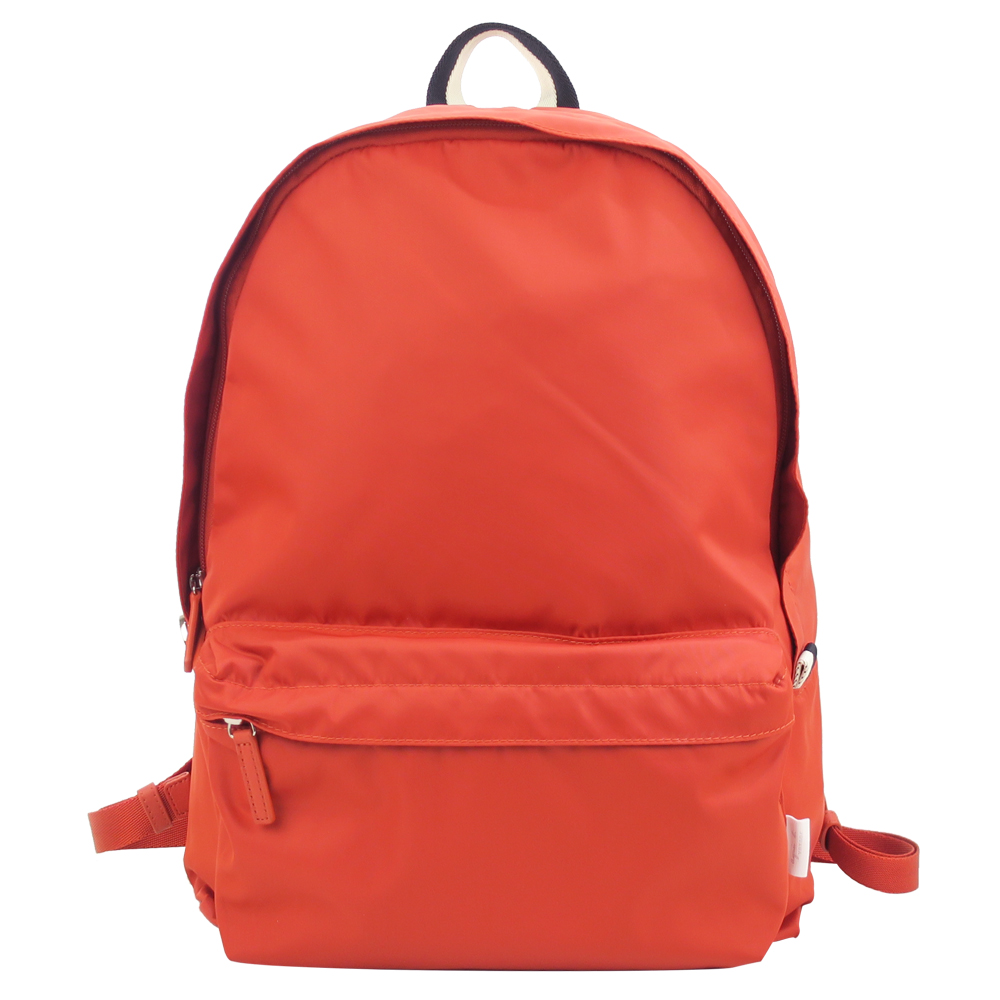 agnes b.條紋織布鐵環尼龍後背包(橘)