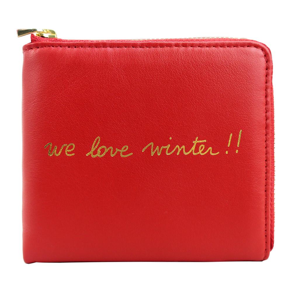 agnes b.手寫燙金L型拉鍊零錢夾(紅)