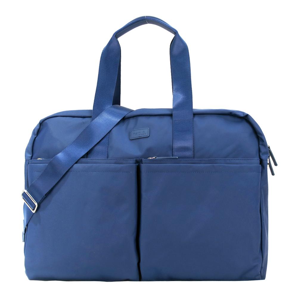 agnes b.雙口袋尼龍手提/斜背公事包(藍)