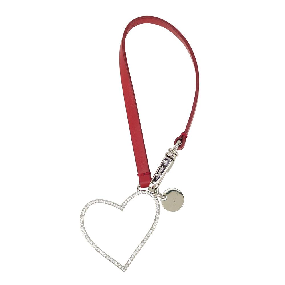 agnes b. 紅色皮飾水鑽心型吊飾