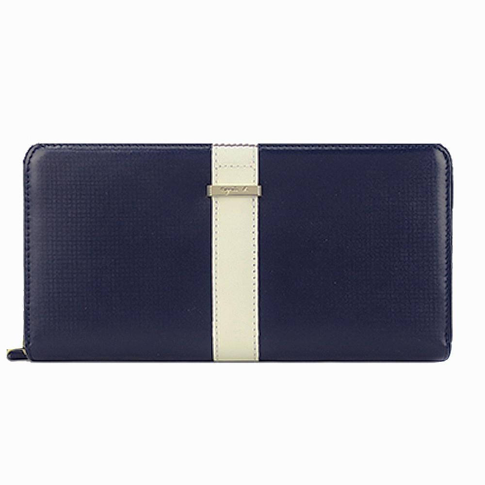 agnes b.皮革直紋飾帶拉鍊長夾-深藍