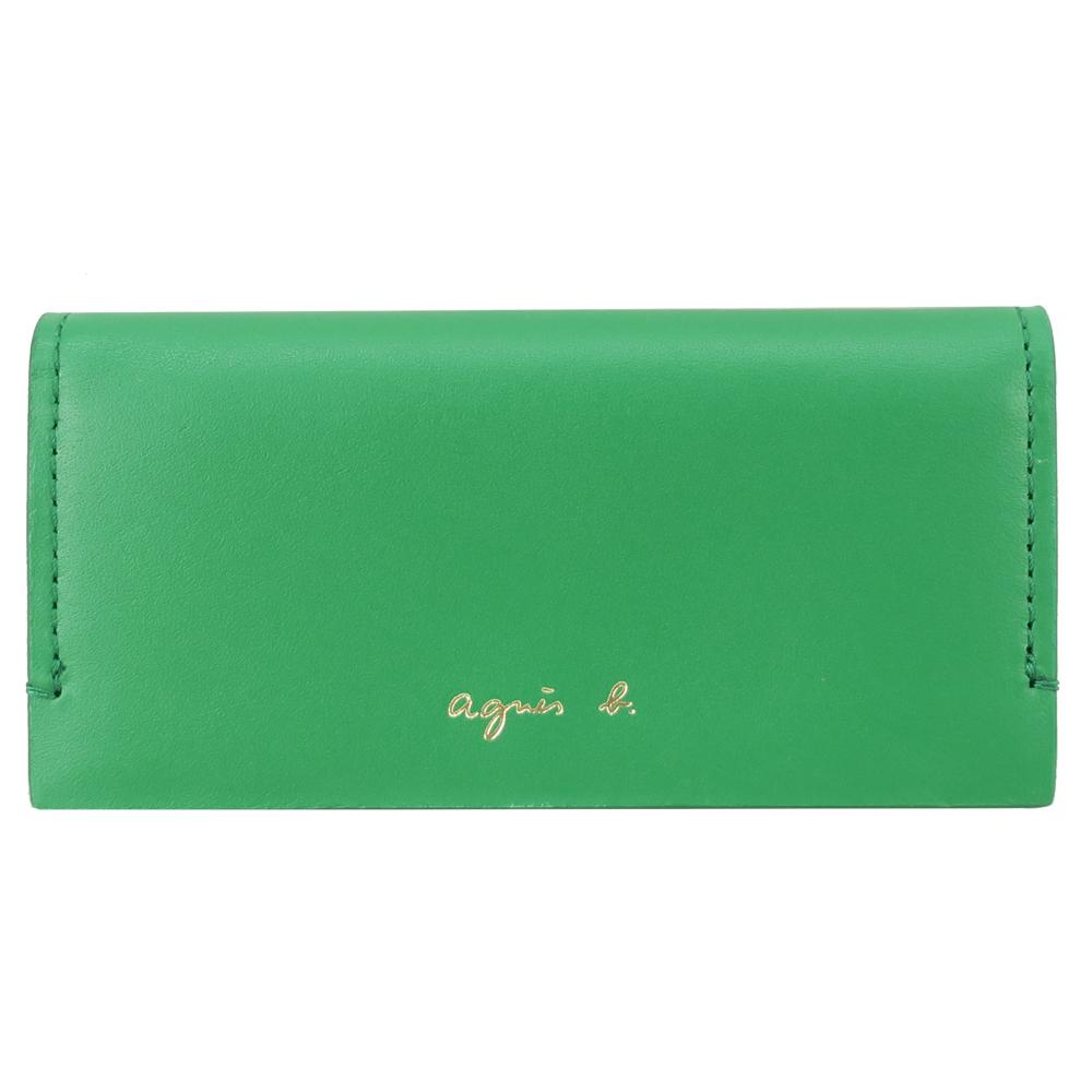agnes b.燙金LOGO皮革鎖包-綠