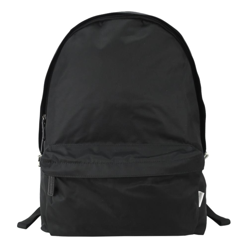 agnes b.條紋織布鐵環尼龍後背包(黑)