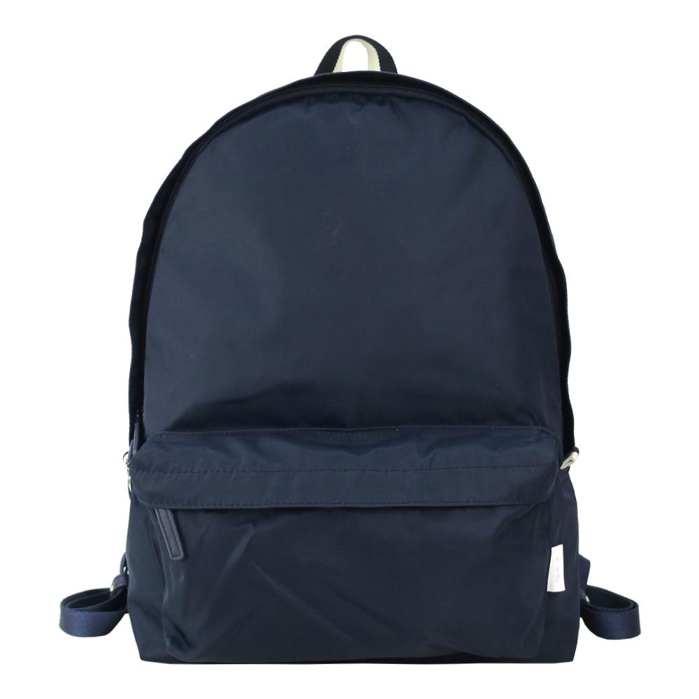 agnes b.條紋織布鐵環尼龍後背包(深藍)