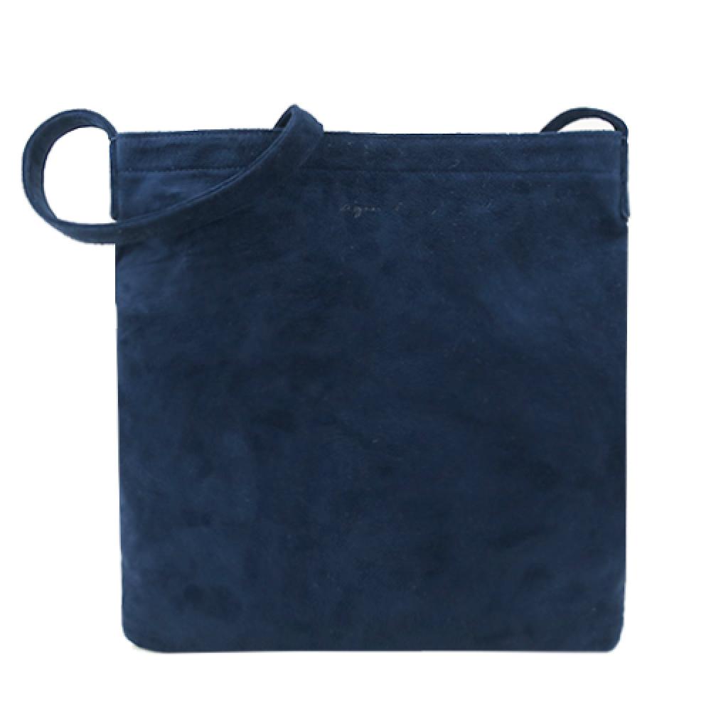 agnes b. 仿麂皮革斜背包-深藍