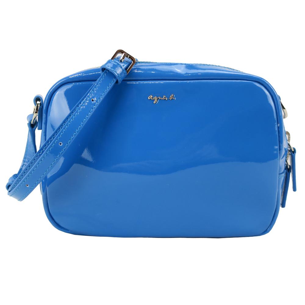 agnes b.亮面漆皮斜背包(藍)