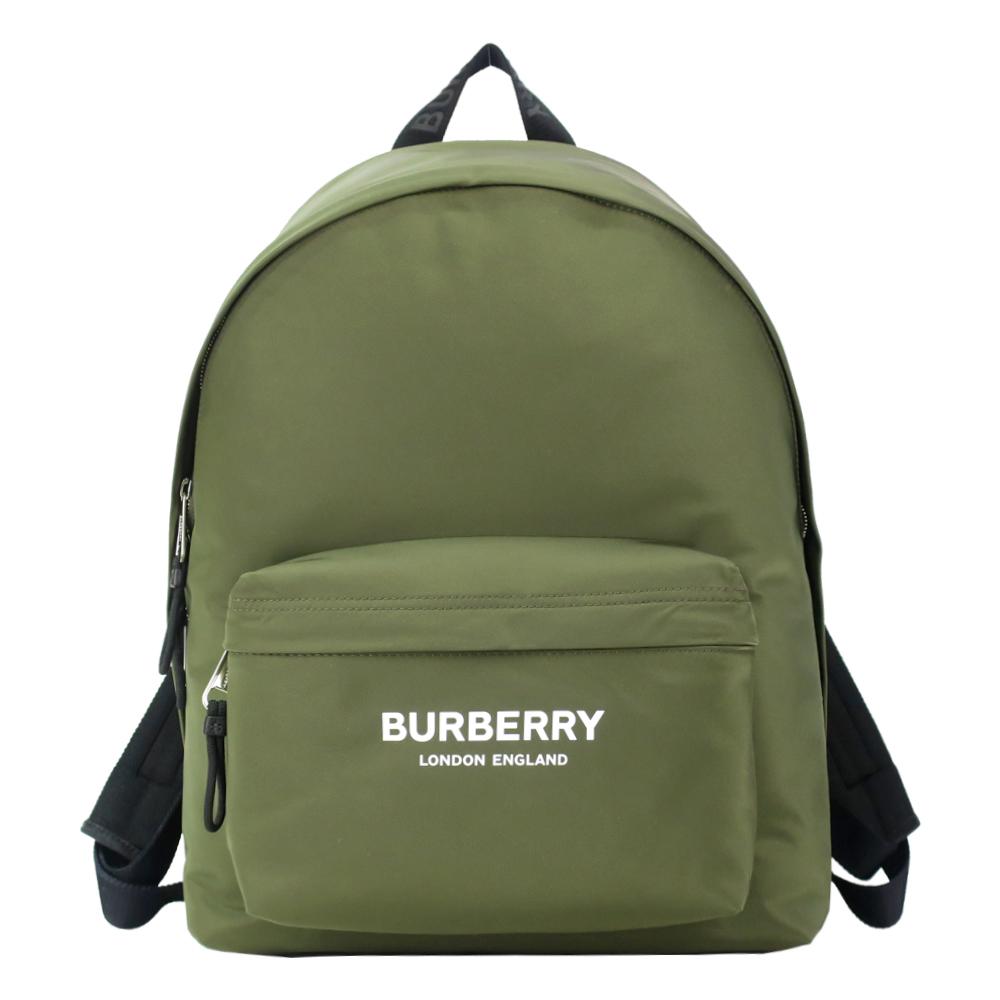 BURBERRY 簡約字母印尼龍後背包(墨綠)