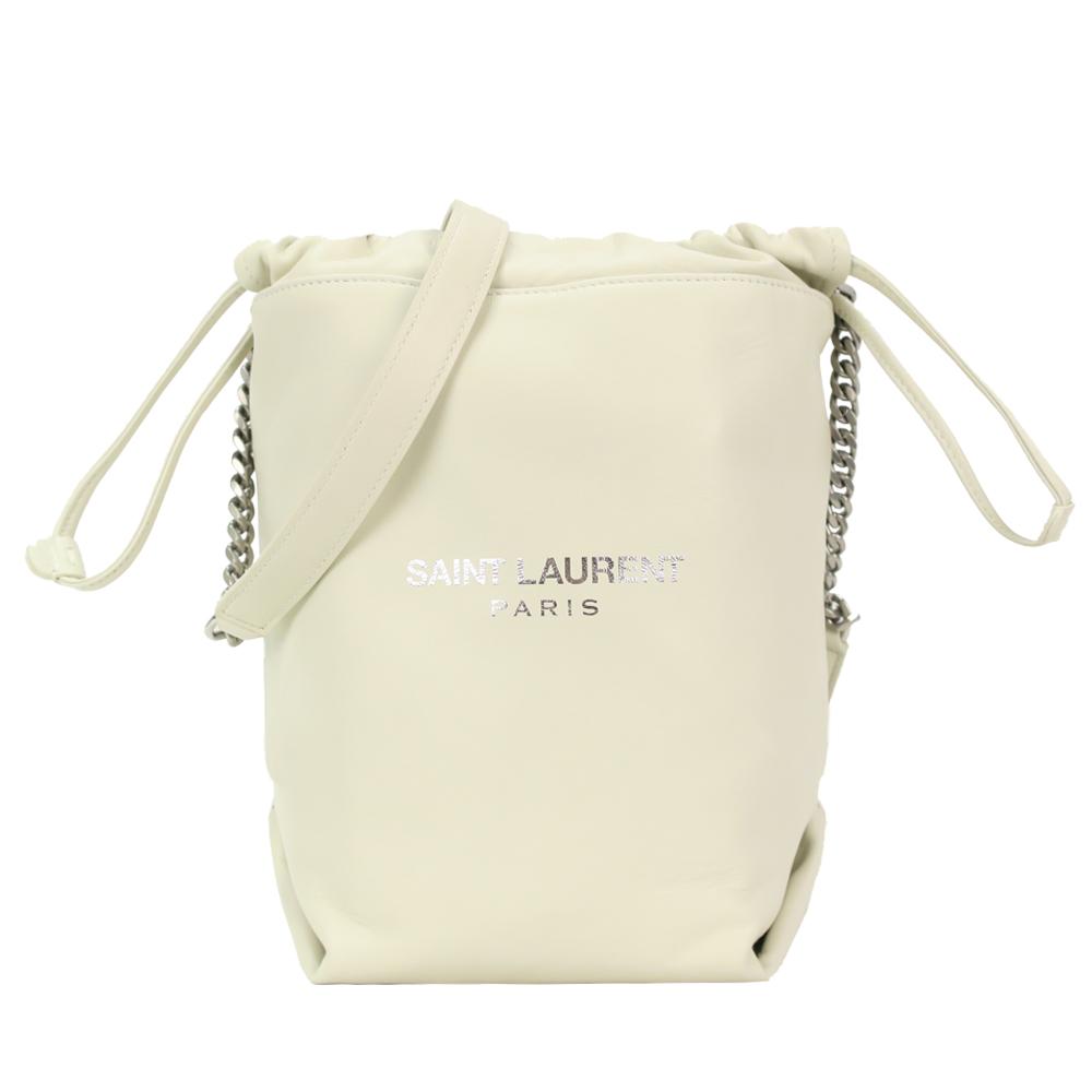 YSL SAINT LAURENT 小羊皮壓印燙銀LOGO斜肩水桶包(附手拿/小白)