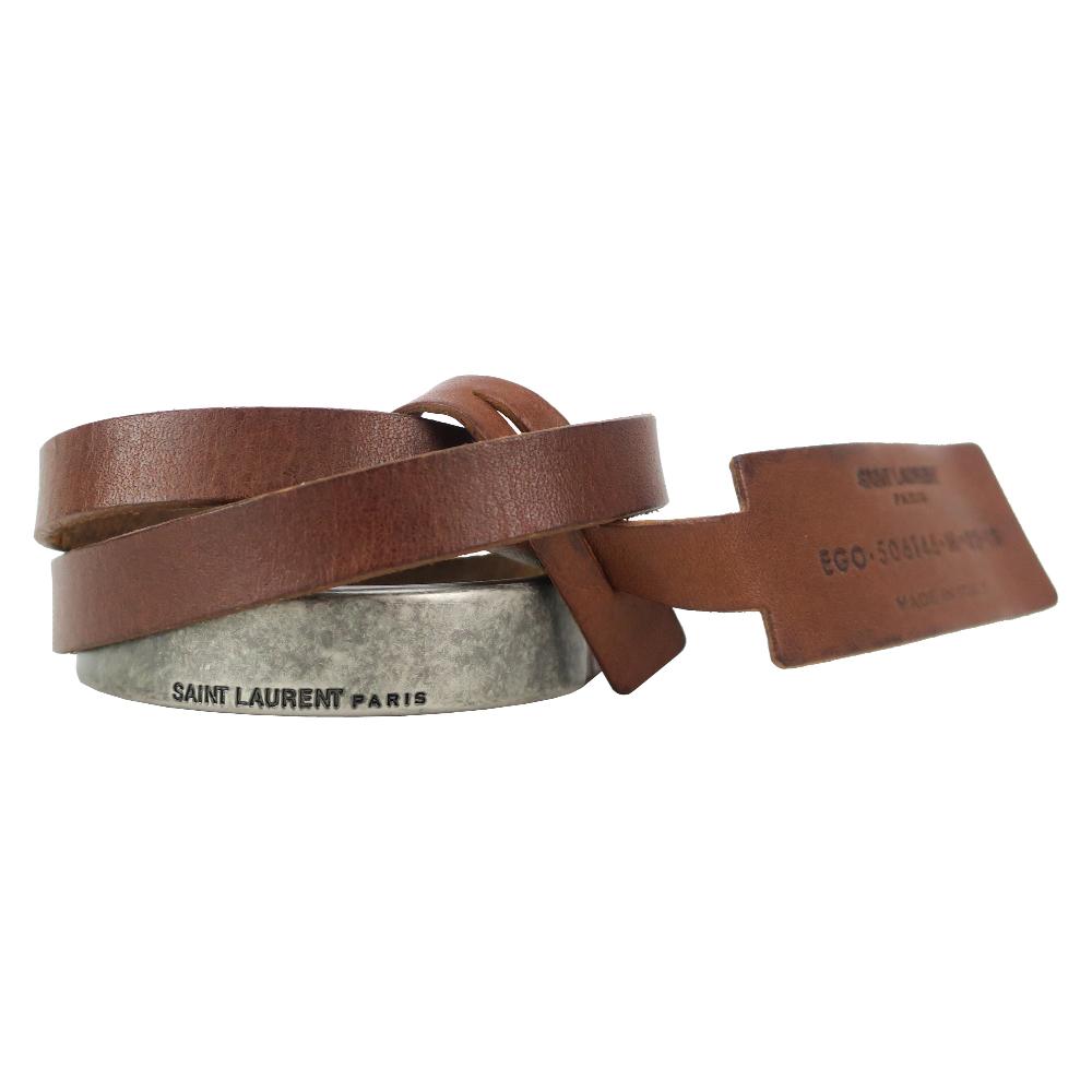 YSL SAINT LAURENT 復古金屬半環小牛皮手環(棕/銀)