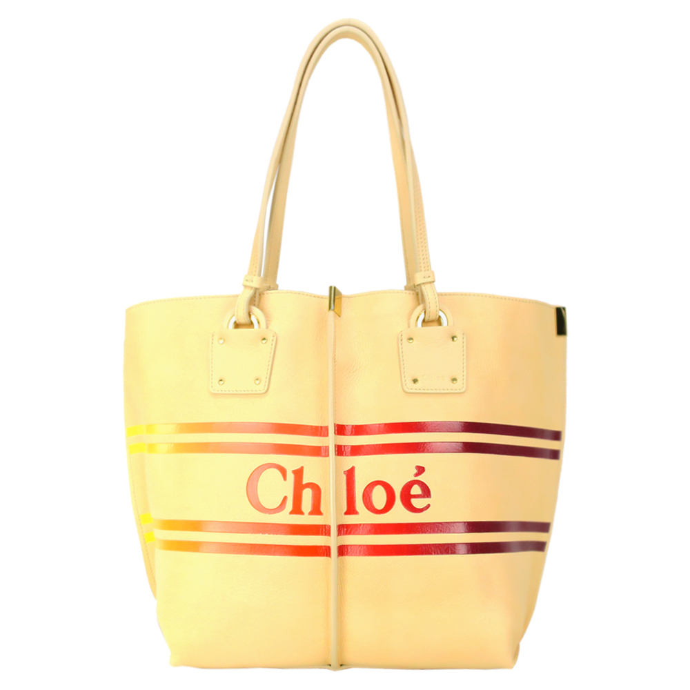 Chloe 小牛皮條紋LOGO手提購物包(黃/附手拿)