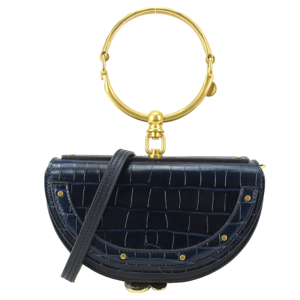 Chloe Nile Chloé 小牛皮鱷魚壓紋金屬環半月手提肩背包(深藍)