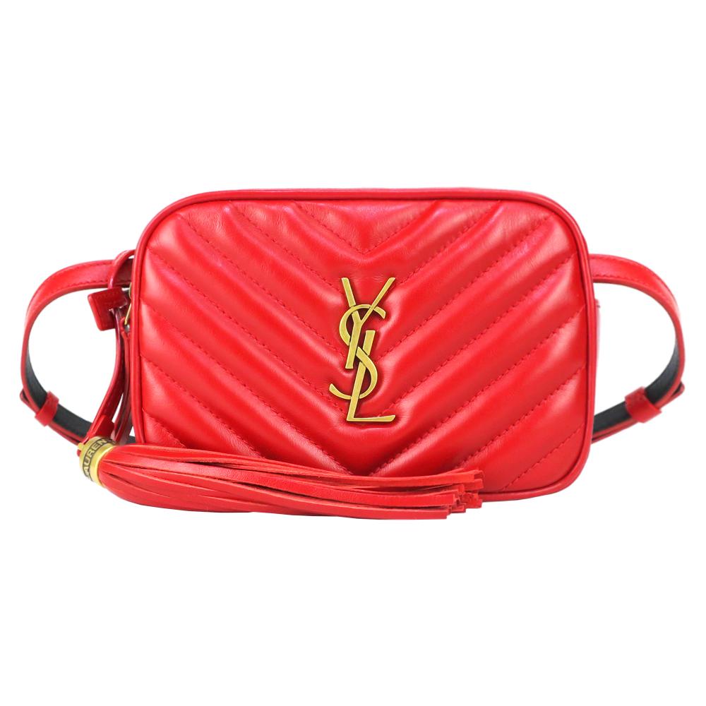YSL SAINT LAURENT MARSUPIO V字縫線小牛皮流蘇方形腰包(金x紅)