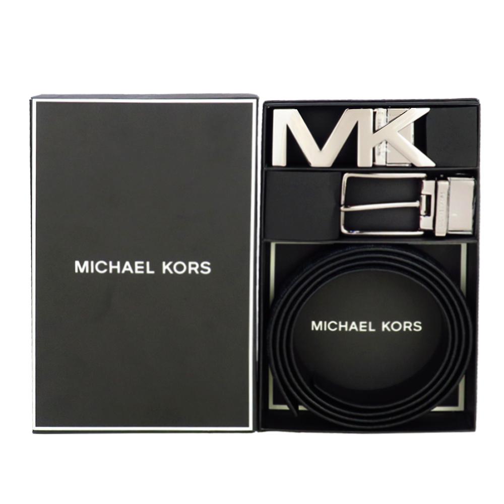 MICHAEL KORS 滿版方牌/針扣雙頭雙面用皮帶禮盒組-黑