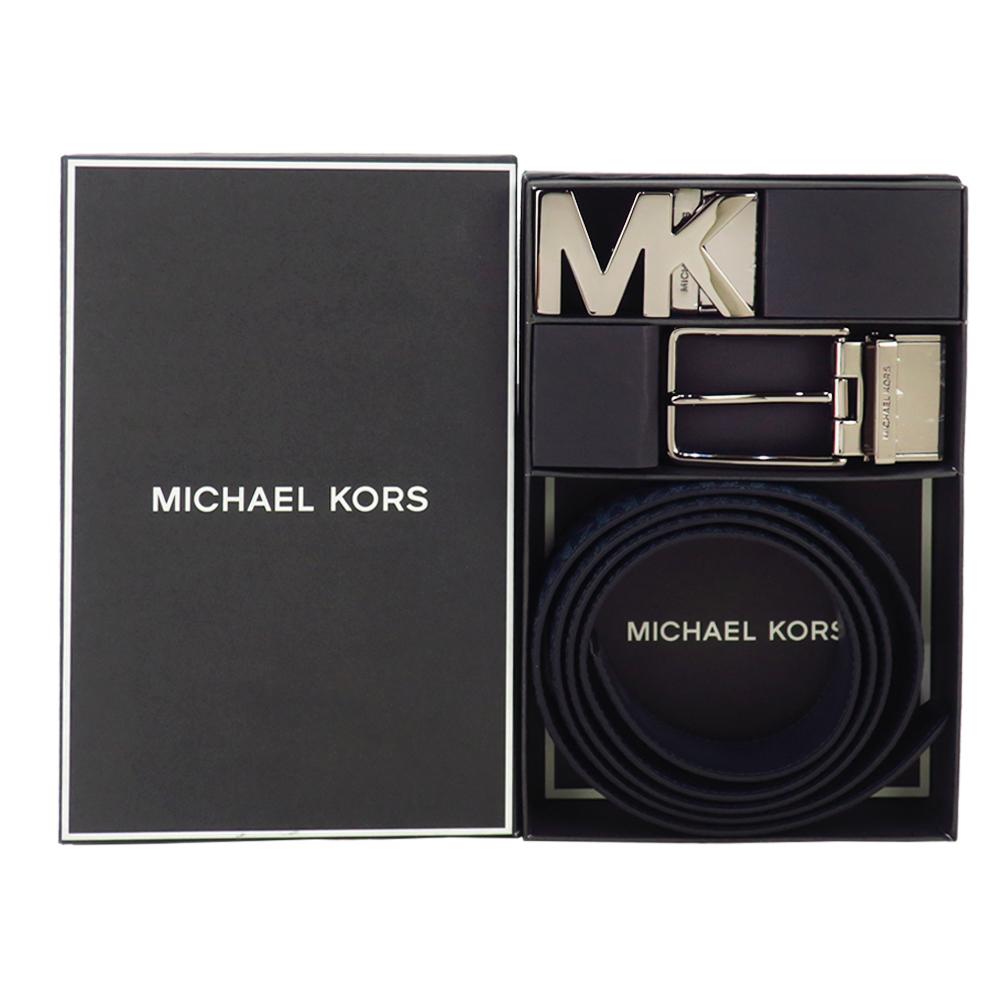 MICHAEL KORS MK LOGO/針扣雙頭雙面用皮帶禮盒組-深藍