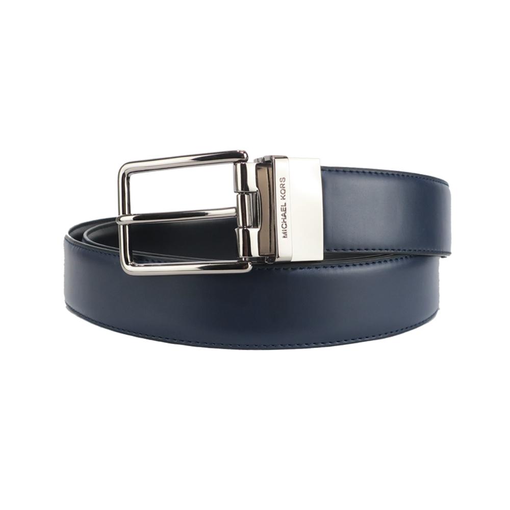 MICHAEL KORS滑面皮革針扣皮帶-藍/黑
