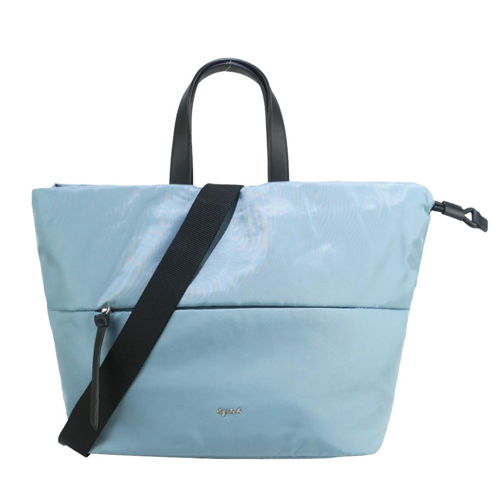 agnes b. 光澤感尼龍束口兩用手提/斜背包-小/灰藍
