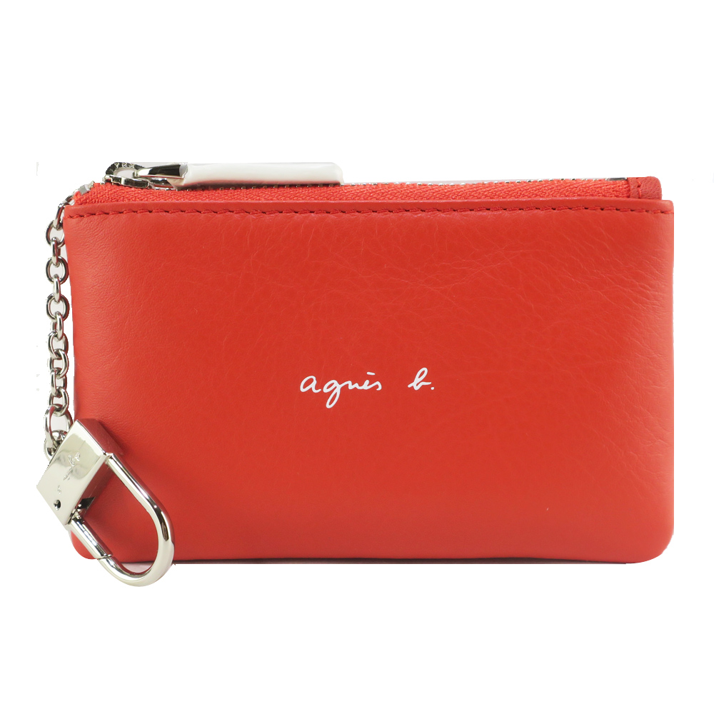 agnes b.白色LOGO牛皮鑰匙零錢包-橘紅
