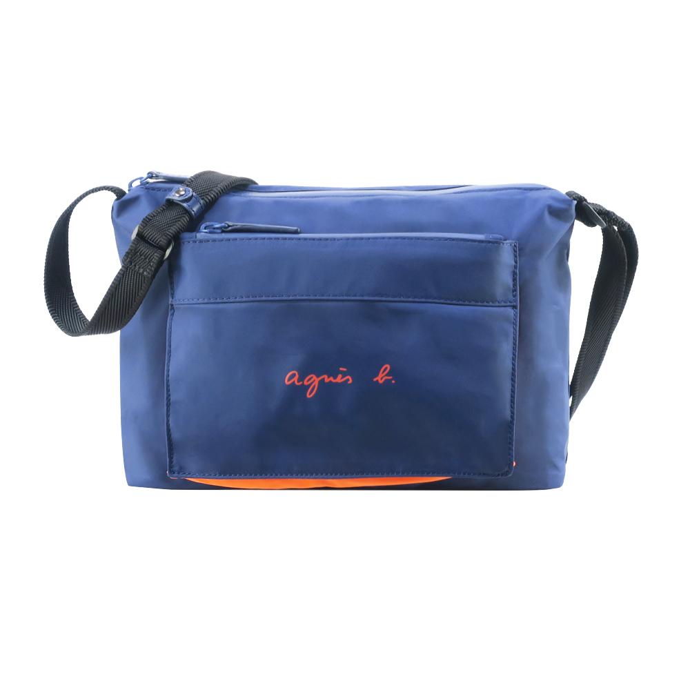 agnes b. 輕量尼龍撞色口袋斜背包-小/藍橘