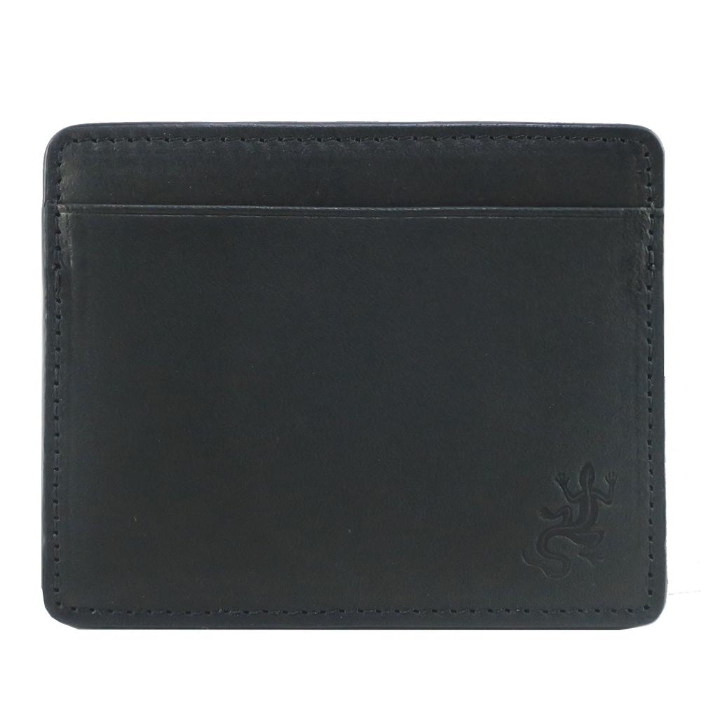 agnes b.蜥蝪壓紋牛皮卡片夾-黑