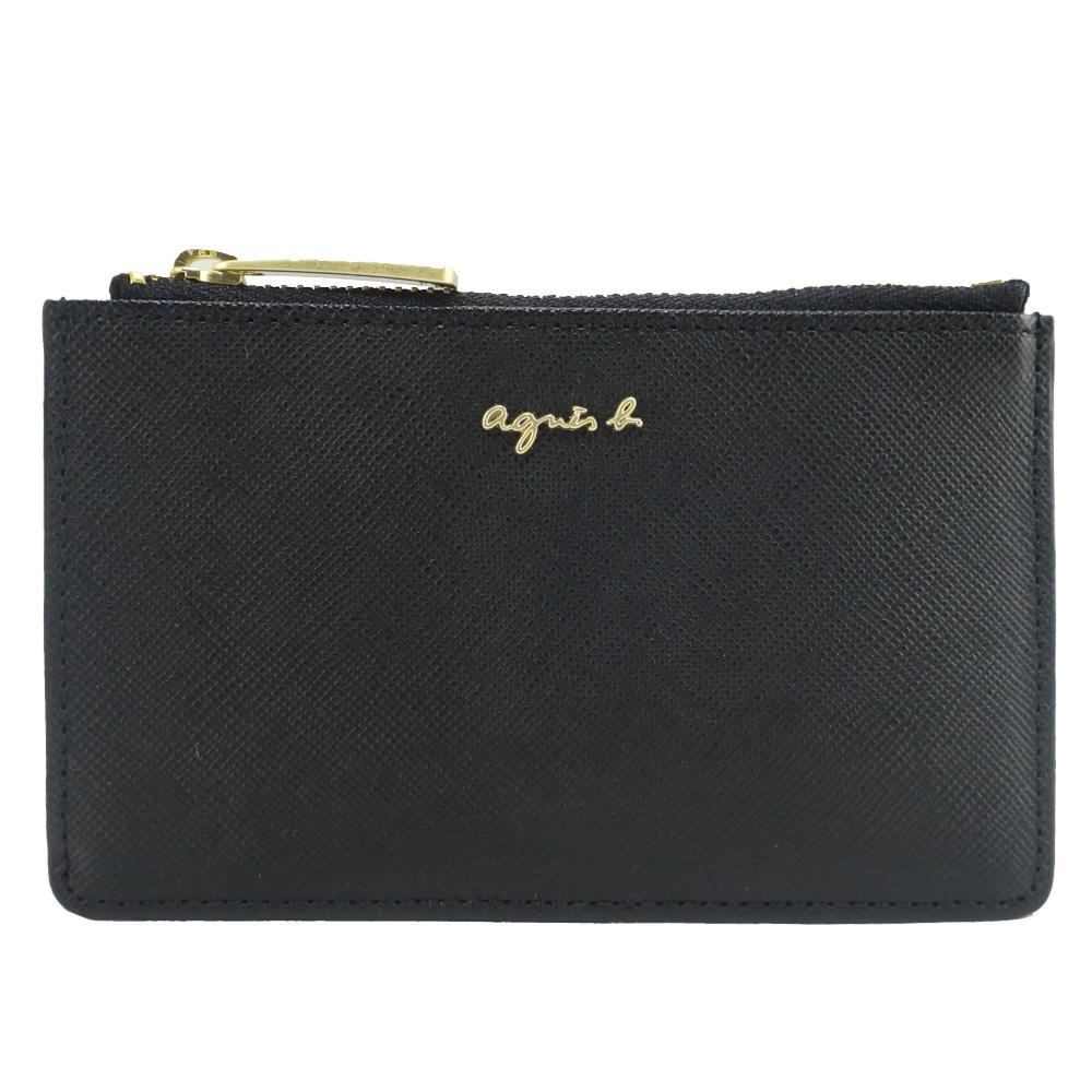 agnes b.-立體LOGO卡片零錢夾-黑(附鑰匙環)