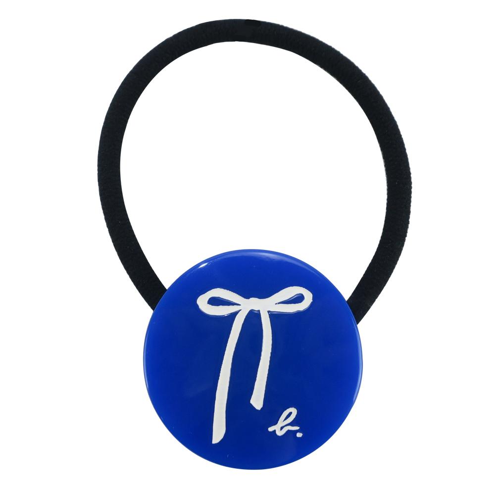 agnes b. 圓牌蝴蝶結髮圈-藍