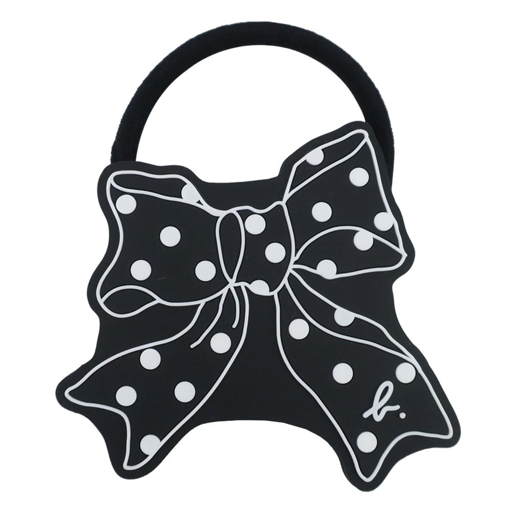 agnes b. 矽膠緞帶圖案髮圈-黑