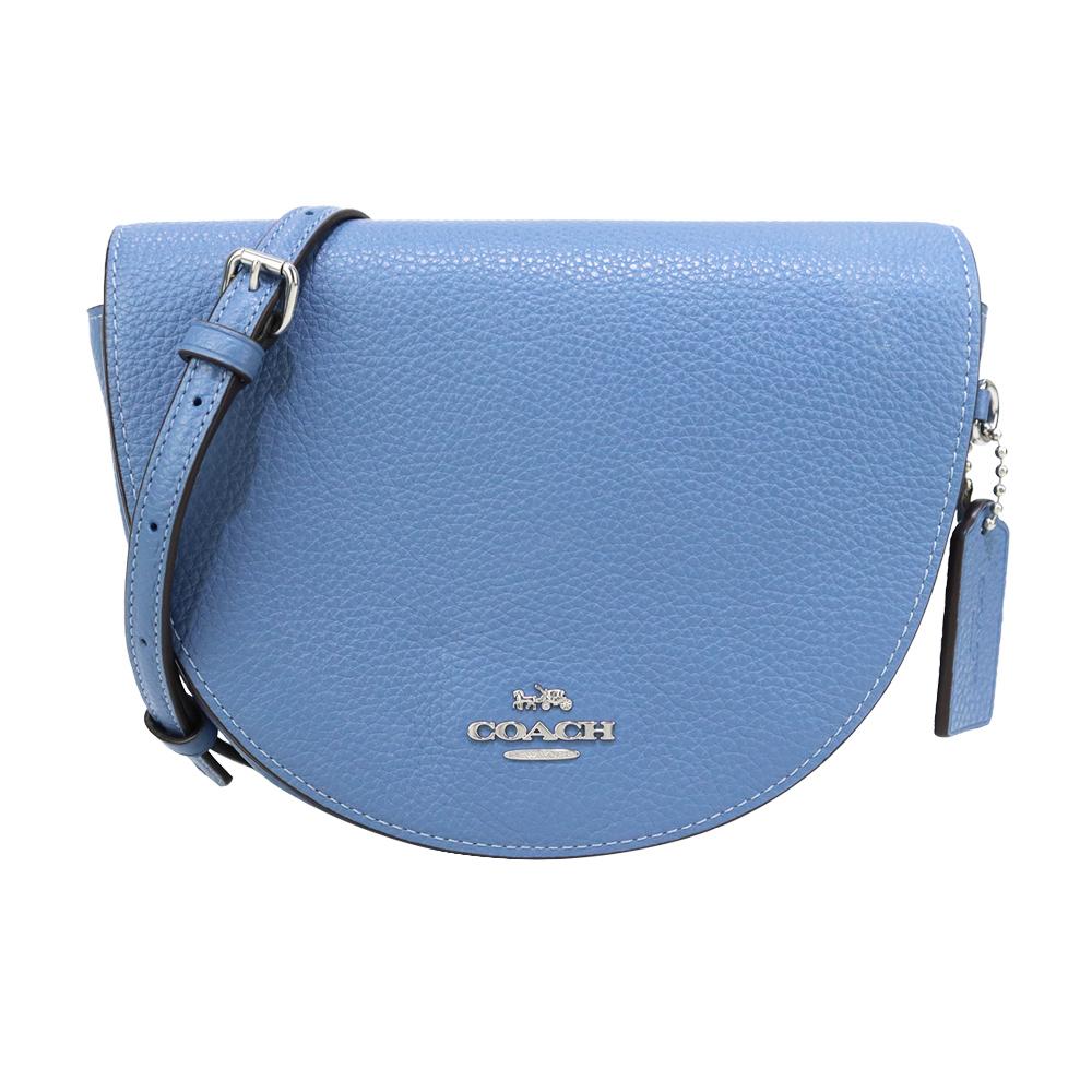 COACH 立體馬車LOGO素面荔枝紋皮革半月斜背包(藍)