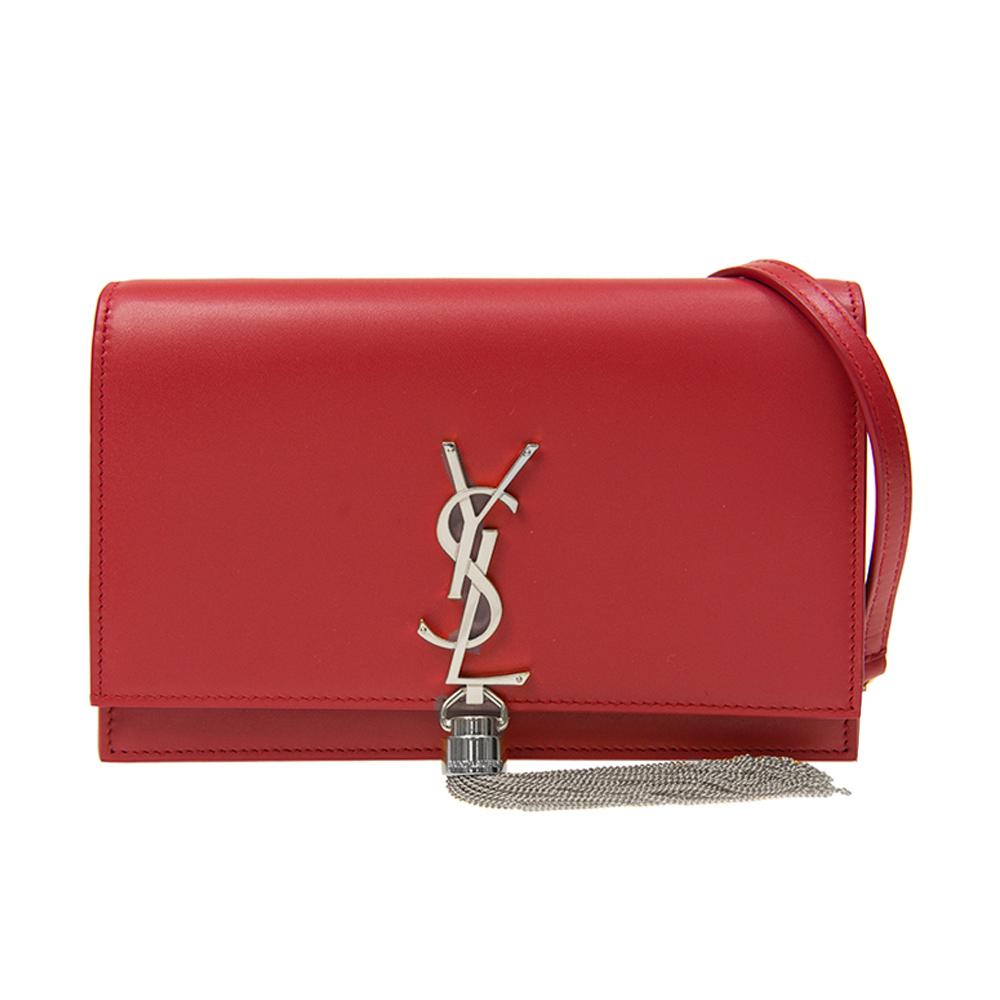 YSL SAINT LAURENT KATE 皮革鏈袋翻蓋斜背包(紅)