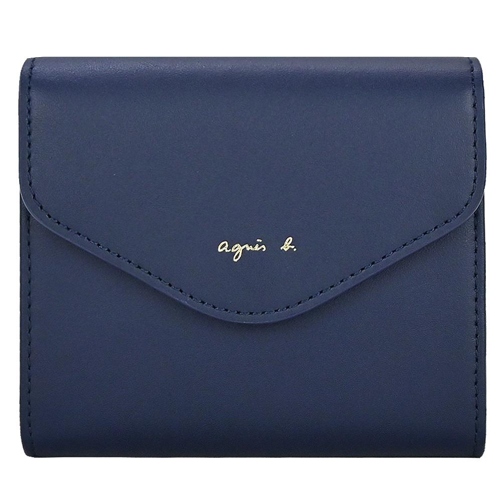 agnes b.燙金字信封短夾(翻扣)-深藍