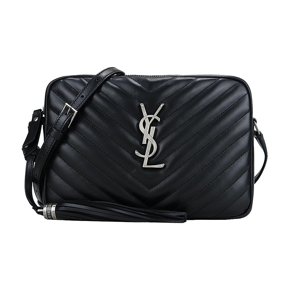 YSL SAINT LAURENT LOU CAMERA V字縫線魚子醬牛皮斜背包(黑/銀)