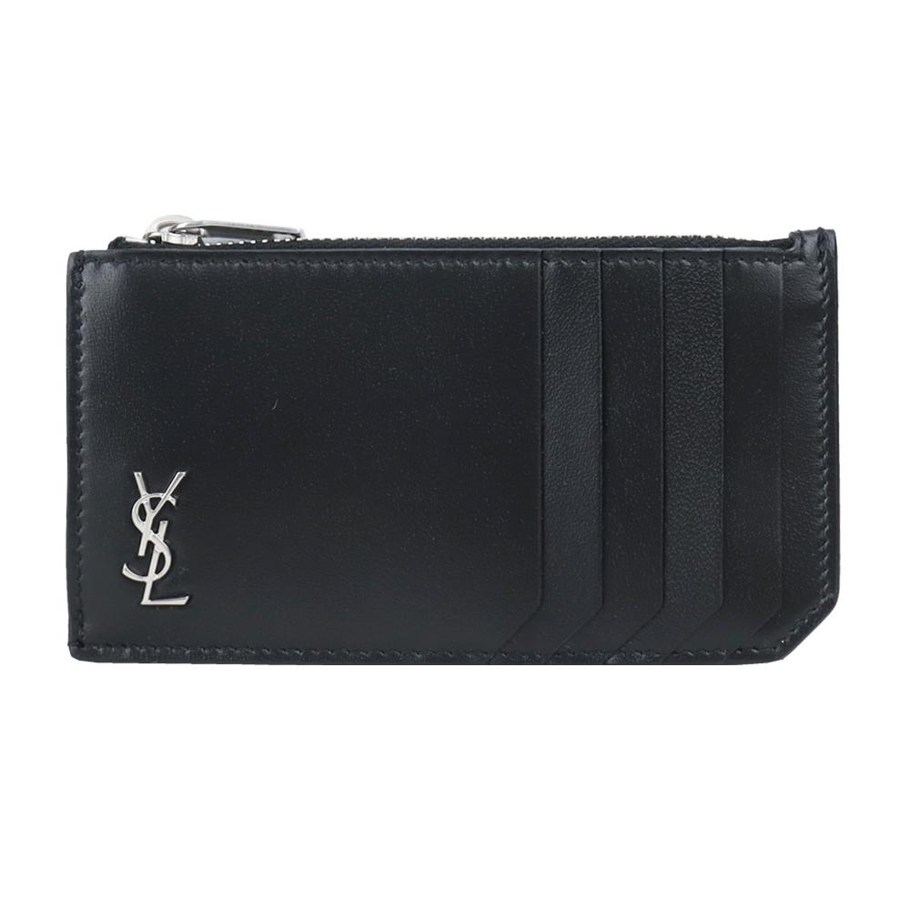YSL SAINT LAURENT牛皮金屬LOGO卡片零錢夾(黑X銀)