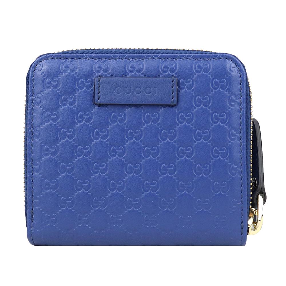 GUCCI Microguccissima 經典壓紋牛皮拉鍊式短夾(藍)