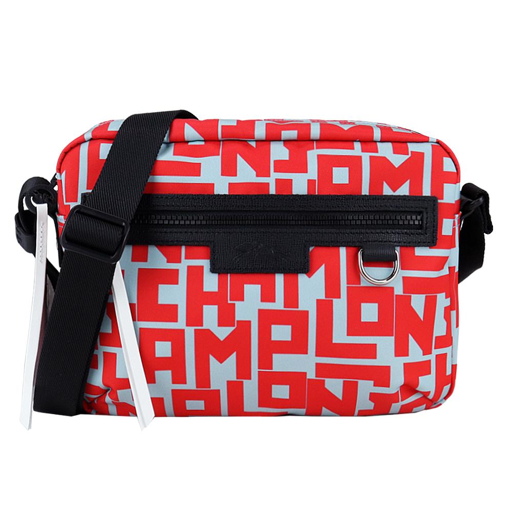 LONGCHAMP LE PLIAGE LGP系列尼龍滿版斜背相機包(中/鼠尾草綠X紅)