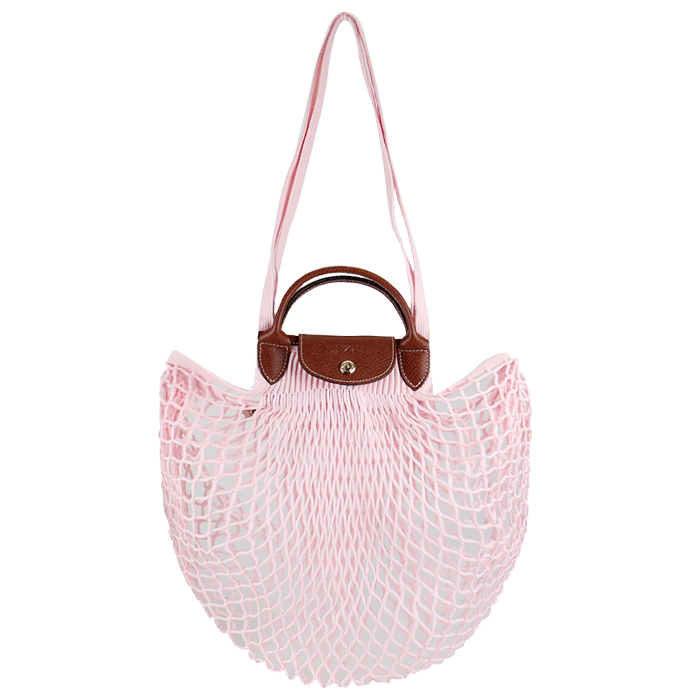 LONGCHAMP LE PLIAGE FILET系列網狀棉質手提/肩背兩用包(淡粉)