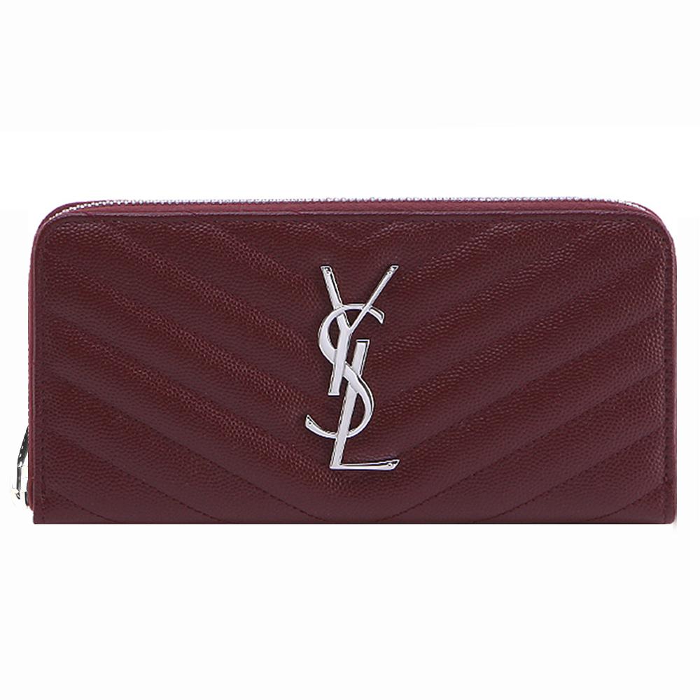 YSL Saint Laurent Monogram V字縫線牛皮拉鍊長夾(銀X酒紅)