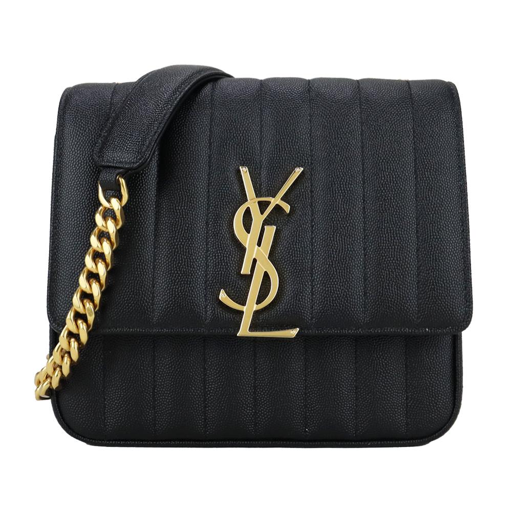 YSL VICKY系列 V字縫線小羊皮翻蓋鏈帶側肩包(黑)