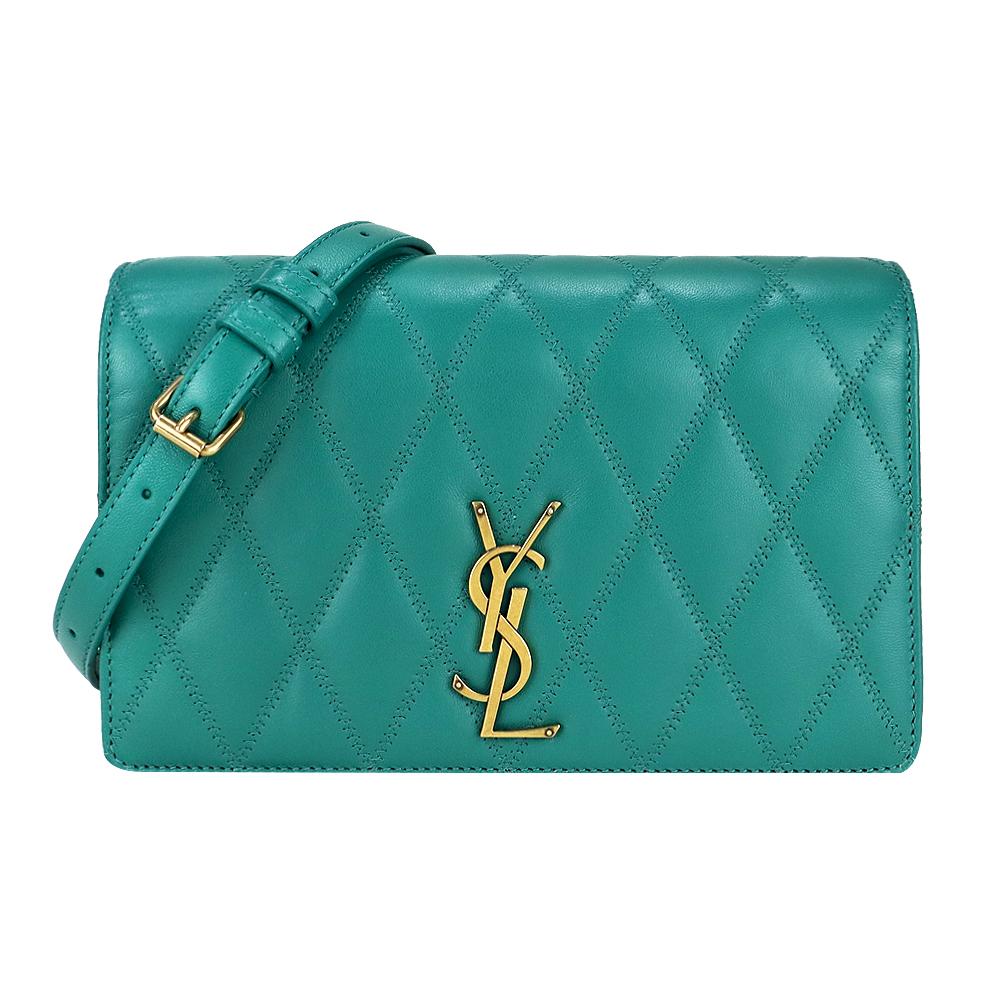YSL ANGIE系列菱紋小羊皮鏈條肩背/斜背包(綠)
