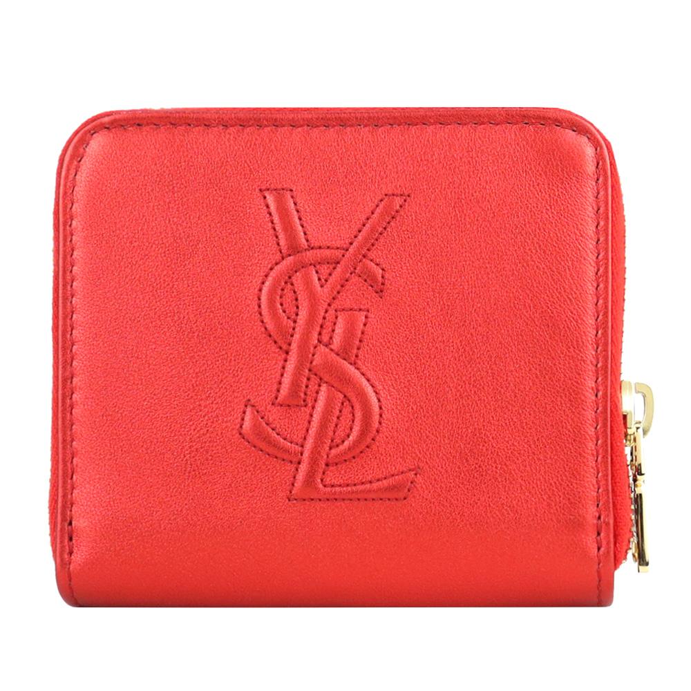 YSL Belle de Jour系列經典 LOGO 皮革壓紋皮扣短夾(金屬紅)