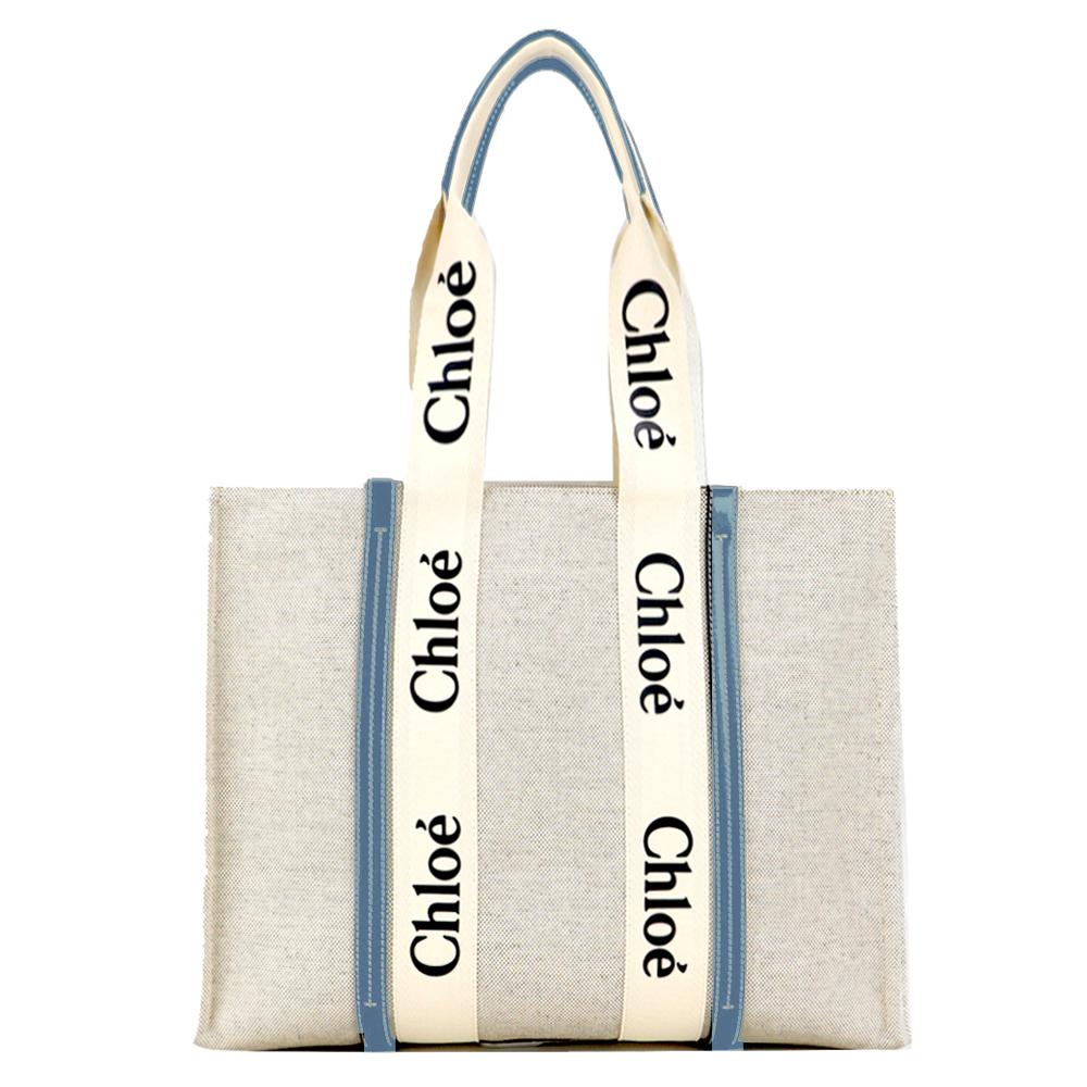 Chloe Woody tote bag帆布托特包(中號/土耳其藍)