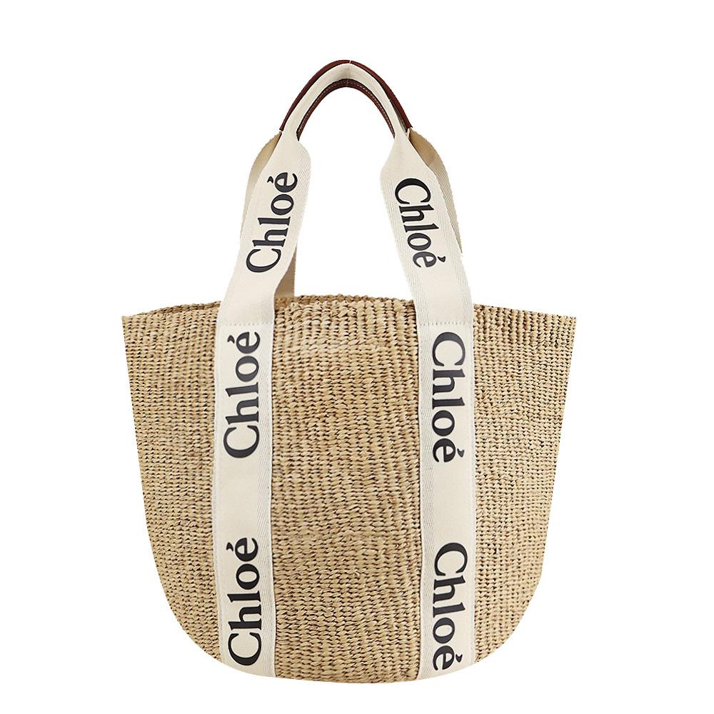 Chloe Woody BORSA CESTO GRANDE編織紋托特包(米白色)
