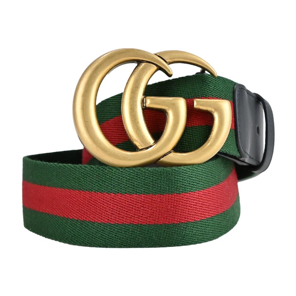 GUCCI 經典金屬GG紅綠織紋飾邊皮帶(金x黑)