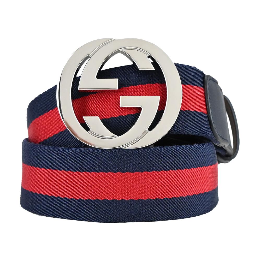 GUCCI 紅藍織紋皮革飾邊亮面雙G金屬扣皮帶(銀x黑)