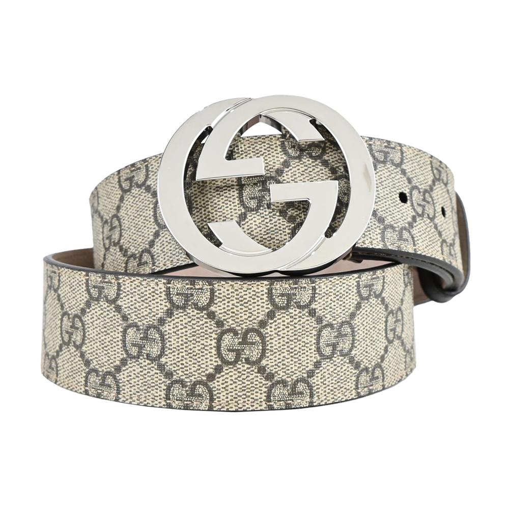 GUCCI Signature 皮革壓紋雙G扣皮帶(卡其棕/銀)