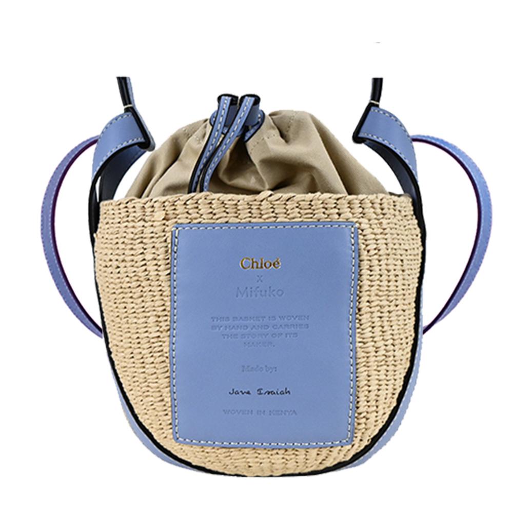 Chloe Woody 經典LOGO皮革草編束口水桶包(土耳其藍)