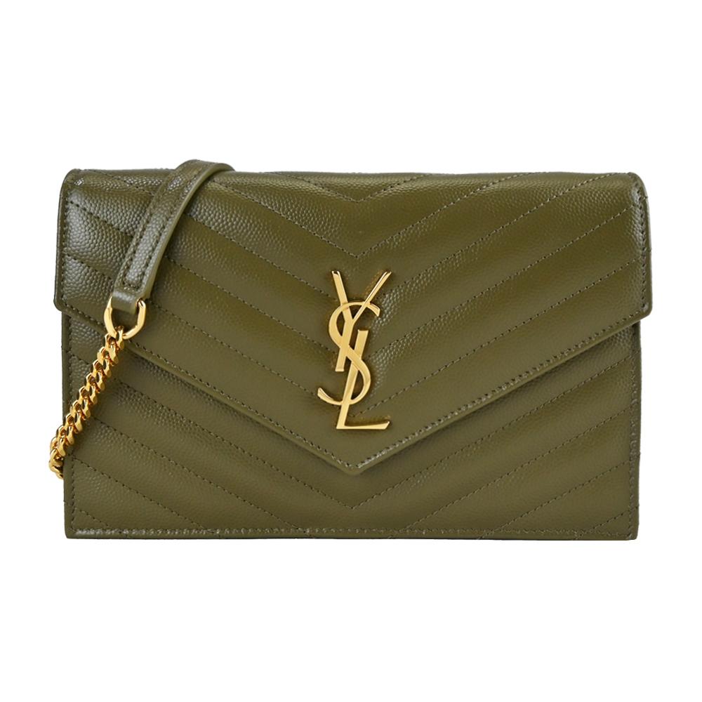 YSL MONOGRAM V字縫線魚子醬牛皮金屬LOGO金色鍊帶斜肩信封包(金x墨綠)