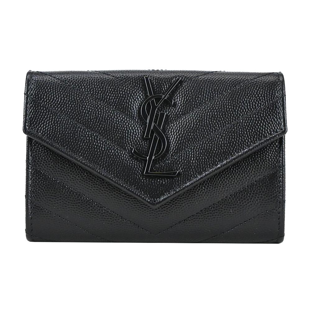 YSL MONOGRAM系列V字縫線魚子醬牛皮信封卡片/零錢夾(黑)