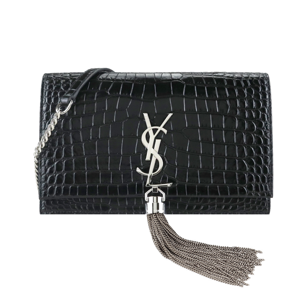YSL SAINT LAURENT KATE系列鱷魚壓紋皮革鏈袋翻蓋斜背包(黑/銀)