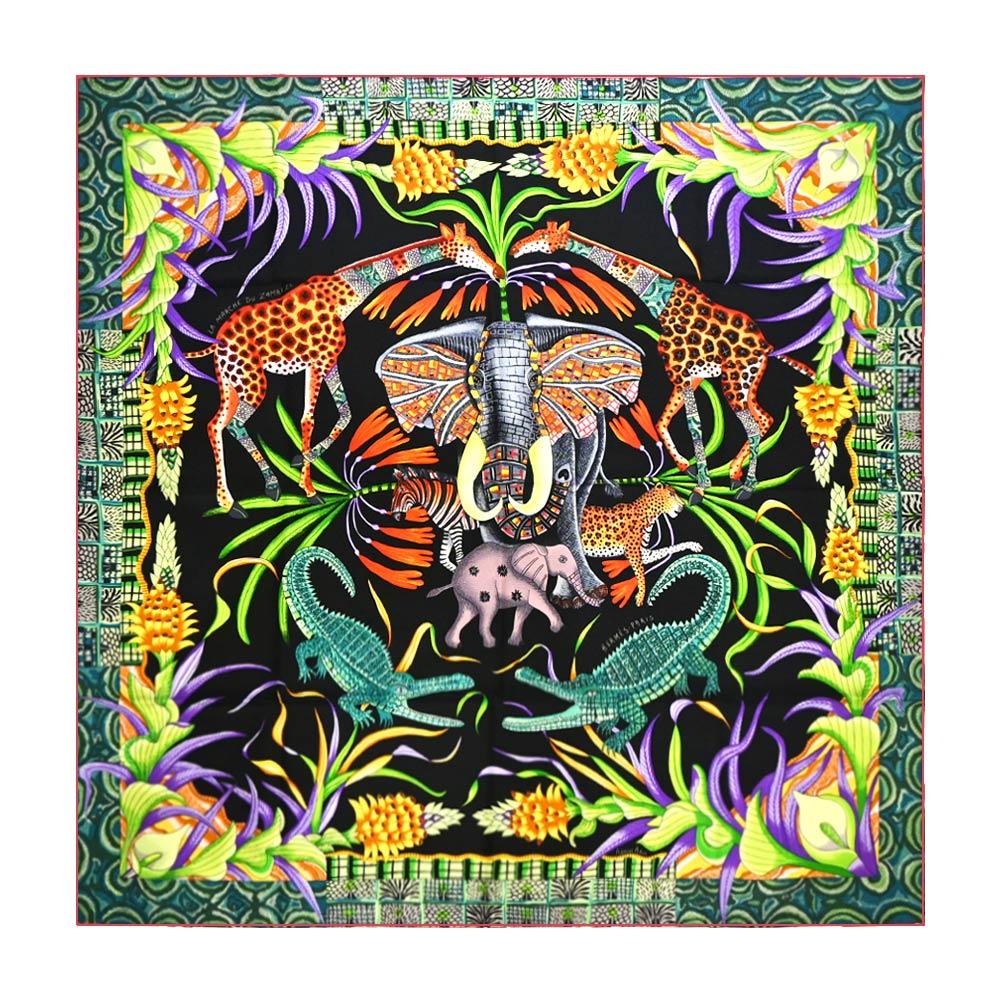 HERMES La Marche du Zambeze 90讚比西河動物派對(黑X綠)