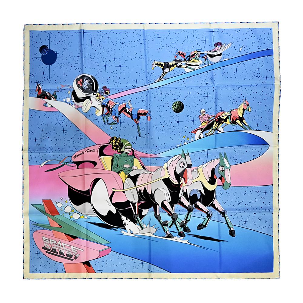 HERMES Space Derby scarf 90太空德比真絲方巾(藍)
